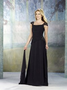 Discount 2012 Black Easy Made Sequare neckline Lace Capped Mother Bride Dress With Pearls (MBD-072) Online