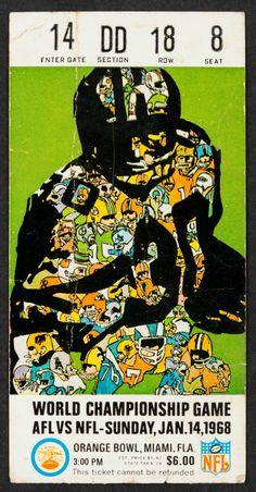 1968 Super Bowl II Ticket