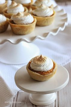 Petite sweet potato pies lightly sweetened with a ripe banana, a touch of brown sugar and spices, then topped with a light meringue topping ...