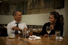 Our President & First Lady having a nice meal.