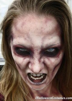 Want to be a zombie for Halloween? Get inspired with these zombie makeup DIYs. Maquillage Halloween Zombie, Halloween Zombie Makeup, Looks Halloween, Really Scary Halloween Costumes, Zombie Bite Makeup, Costume Zombie, Halloween Face, Adult Halloween, Scary Makeup
