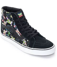Go to infinity and beyond in the Disney x Vans collaboration Sk8 Hi Buzz Lightyear shoes. The black canvas side panels feature a screen printed Buzz Lightyear all over graphic and are accented by black suede heels and upper. Set your laser from stun to ki