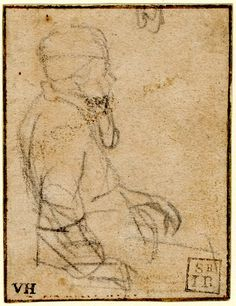 Rembrandt, Sketch of a seated man in profile to r; HL leaning on his r hand, wearing a turban with ear lappets (?) and with beard (?). c.1647 Black chalk