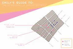 EMILY SHOPS: the fabric district // I like the color and design of this map!