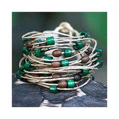 Bamboo & Leather Amazon Ferns Wristband Bracelet (Handmade in Brazil)