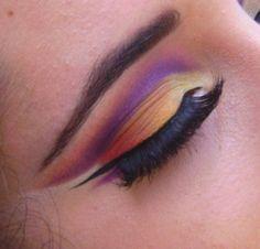 purple and orange cut crease beauty eye shadow make up sexy glam pretty cut crease