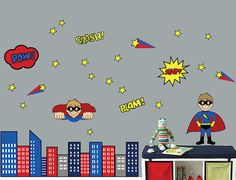 REUSABLE Childrens Wall Decal  Superhero by StudioWallStickers