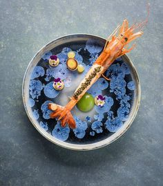 Slow cooked prawn w/ calamansi, leeks, crab meat cream, and caviar by @chefaandepoel #TheArtOfPlating