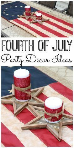 Great Fourth of July party decor ideas! A quick and easy idea if you love rustic decor on the of July! Fourth Of July Decor, 4th Of July Celebration, 4th Of July Decorations, 4th Of July Party, Diy Party Decorations, July 4th, Patriotic Crafts, Patriotic Party, July Crafts