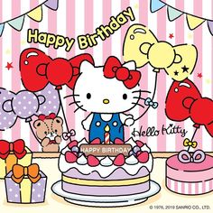 Happy Birthday Bella, Hello Kitty Birthday, Hello Kitty Themes, Hello Kitty Pictures, Hello Kitty Vans, Sanrio Hello Kitty, Hello Kitty Backgrounds, Hello Kitty Wallpaper, Keroppi Wallpaper