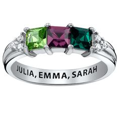 Buy Sterling Silver Mother's Square Birthstone Ring with CZ Accents at Limoges