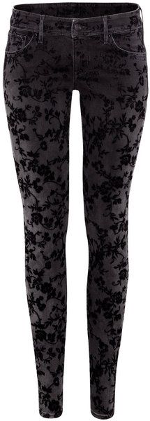 black super skinny low waist jeans with black floral woven pattern