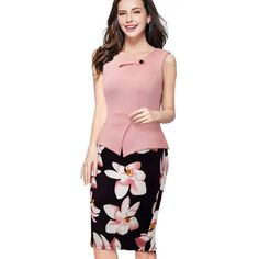 Cheap dress emma, Buy Quality dress sock directly from China dress lily Suppliers: Nice-forever Autumn Print Floral Patchwork Button Casual Dress Business Three Quarter Zip Back Bodycon Summer Office Dress Office Dresses, Dresses For Work, Summer Dresses, Autumn Dresses, Pink Dress, Peplum Dress, Bodycon Dress, Dress Shirt, Elegant Woman