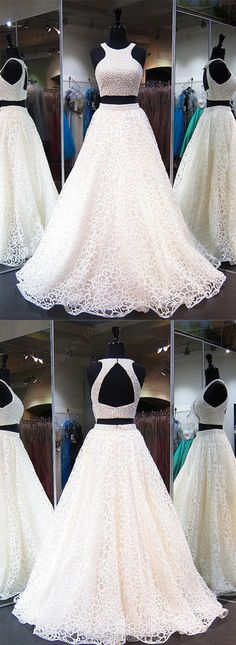 Newest Ball Gown Scoop Neck Tulle with Pearl Prom Dress
