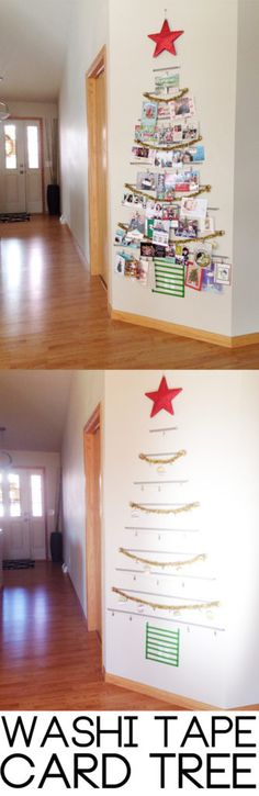 Washi tape wall mounted Christmas card display
