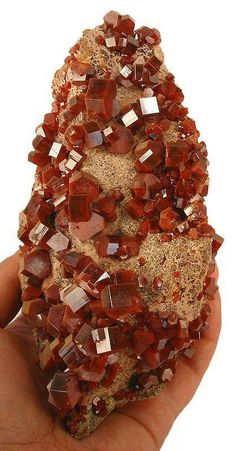 Brilliant bright red Vanadinite with excellent luster from Mibladen, Morocco. Geology Wonders
