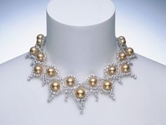 mikimoto jewelry | ... 钻石项链/South Sea Golden Cultured Pearl Necklace with Diamonds