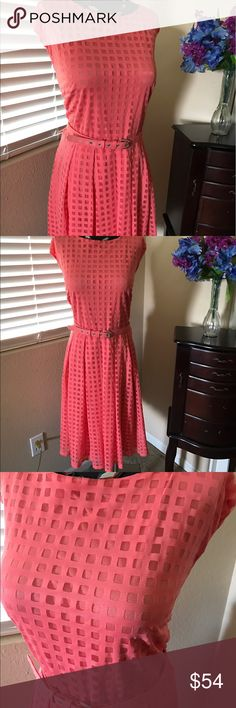 """NWT Peach Color Dress By Alfani Woman 2X Beautiful Peach color dress by Alfani perfect Spring belted dress, fully lined, back Zip and hook close, belt included in a Size 2X.  Made of 60% Poly/40% Nylon, machine wash gentle cycle.  Measurements taken while flat. Bust 23"""", Waist 20"""", full skirt , Length 39"""" lots of stretch.  I wish I could wear this Size Gorgeous🌷🌷 Alfani Dresses"""