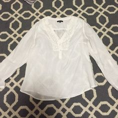 White blouse White blouse white buttons in the front and lace detail Tops Button Down Shirts