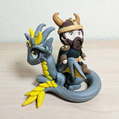 Polymer Clay Dragon and Rider   Victor and Splinter  Cute