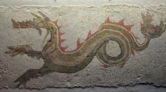 Mosaic depicting a ketos (sea monster) discovered in 1969 in Caulonia (Italy), 3rd century BC.