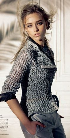 Love this sweater....great pants.    Marcelina Sowa | Madame Figaro Japan July 2011