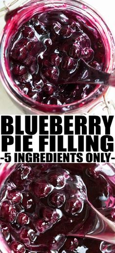 Quick and easy BLUEBERRY PIE FILLING recipe that's made with only 5 ingredients: blueberries, sugar, vanilla, lemon, cornstarch. It can be used as topping or filling in many desserts. From cakewhiz.com #blueberry #blueberries #dessert #dessertrecipes #fruits #pie #recipe #summerrecipes #food