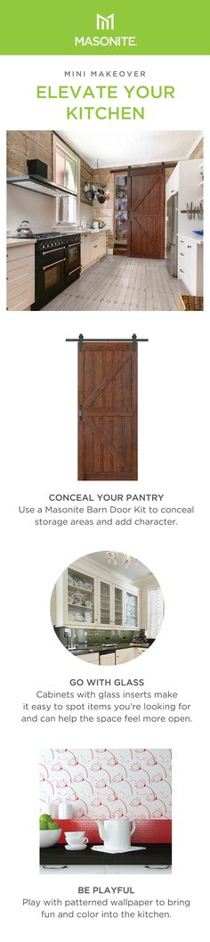 Are you stuck trying to find simple ways to conceal your pantry?  Start by adding a Masonite Barn Door to add character and define the space.  Shop now! Door Kits, Functional Kitchen, Diy Barn Door, Interior Barn Doors, Pantry, Floor Plans, Space, Storage, Simple