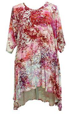 AKH Fashion Lagenlook elegante High-Low Tunika Kleid in rosa XL Mode bei www.modeolymp.lafeo.de