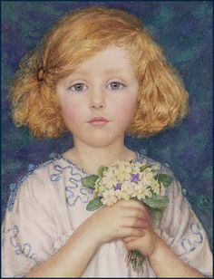 """Margaret W Tarrant (British Artist, 1888-1959)  """"Young Girl With Primroses""""  interesting background"""