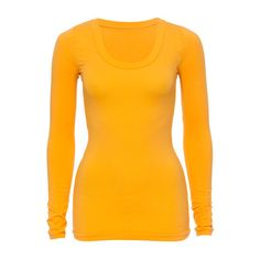 Metalicus | The Round Neck Long Sleeve Top in Marigold - Tops - Basics (95 AUD) via Polyvore