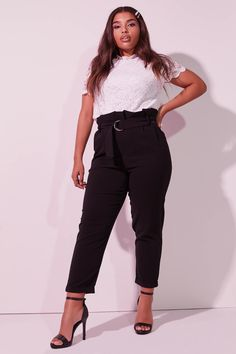 Exclusive piece from our Curve Plus Size collection. Model is wearing size X. Creative Closets, Paper Bag Waist Pants, Plus Size Belts, Cuffed Pants, Free Clothes, Pants Outfit, Belt Buckles, Capri Pants, Pockets