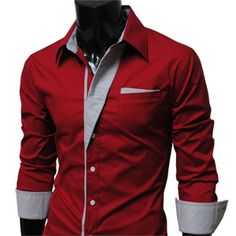 2015 New Fashion contrast color Mens Luxury Long Sleeve freizeithemd Casual Slim Fit Stylish mens dress shirts Red Shirt Dress, Fitted Dress Shirts, Men Dress, Dress Shoes, Slim Fit Casual Shirts, Men Casual, Der Gentleman, Well Dressed Men, Stylish Men