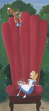 Disney Fine Art - Alice In Big Red Chair. Biggs Ltd. Gallery. Heirloom quality bridal, art, baby gifts and home decor. 1-800-362-0677. $350.