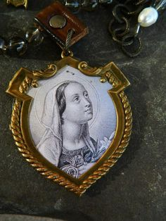 our lady of turgis french holy card necklace <3
