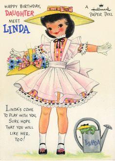 Linda paper doll card; Hallmark, 50s