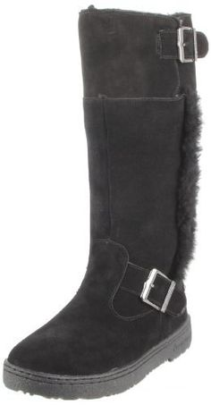 """BEARPAW Women's Woodbury II Boot                                 Leather                    Rubber sole                    Shaft measures approximately 13.5"""" from arch                    Heel measures approximately 1.25""""                    Boot opening measures approximately 13.75"""" around                    suede"""