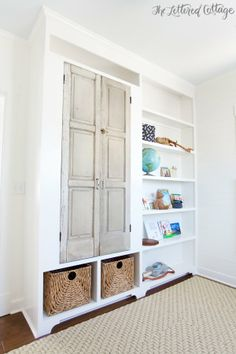 Built In Bookcase and Storage with vintage doors