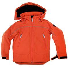 Polarn O. Pyret Bright Orange Kids Shell Jacket. Waterproof coat, colourful kids coats.