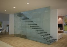 "GLASSTEP > is a glass stairway, completely transparent, able to ""disappear"" allowing this way to enjoy fully the surrounding environment , both classical and modern. Characterized by a minimal design it can adjust to all the environments and meet, thanks to its flexibility, the most various architectural requirements."