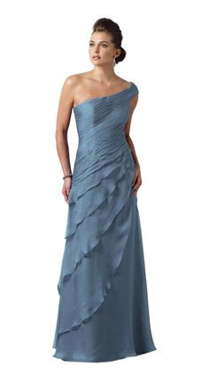 Mother of the Bride Dress from Montage by Mon Cheri style 112910 is an elegant gown featured in chiffon. The neckline is one-shoulder with a ruched bodice. Asymmetrical basque waistline. The skirt is