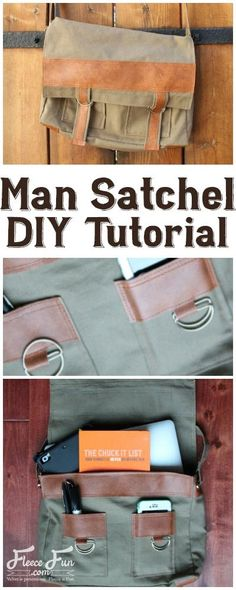How do I create a Man Satchel DIY tutorial?I love this Man Satchel DIY tutorial. It is the perfect handmade gift idea for this guy I know. I love all of the leatherette upholstery too. Sewing Patterns Free, Free Sewing, Sewing Men, Sewing Hacks, Sewing Tutorials, Sewing Tips, Sewing Ideas, Mens Satchel, Diy For Men