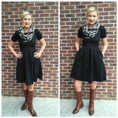 lularoe outfits - Amelia Dress - great dress for work or casual wear + I like the sleeves! #lularoe www.facebook.com/groups/lularoewithamber