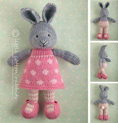 Fille lapin lapin tricoté dans une robe dotty (modèle de tricot) sur Etsy, $7.13 CAD