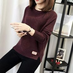 2017 Women Solid Autumn Sweater Long Sleeve O-Neck Casual Knitted Pullovers  Winter Warm Tops 2a6c0ca88
