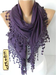 Purple Scarf-Fashion Scarf Cotton Scarf with trim by MebaDesign