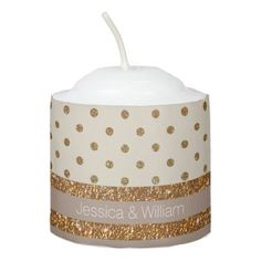 Gold and Champagne Custom Wedding Candle Favor