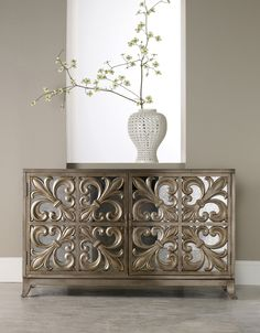 Melange Fleur-De-Lis Mirrored Credenza by Hooker Furniture - Home Gallery Stores