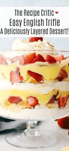 Easy English Trifle is a light, delectable, sweet treat. It's so easy and so delicate and beautiful. Make sure you spotlight this fanciful dessert in a clear bowl, for all to see it's luscious layers. Trifle Bowl Recipes, Trifle Dish, Trifle Desserts, Easy Desserts, Delicious Desserts, Easy English Trifle Recipe, English Dessert Recipes, Honey Recipes, Almond Recipes