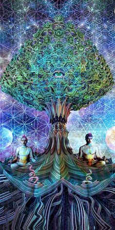 Tree of Life -Mental Alchemy -Alex Fitch ~ Professional psychedelic/visionary artist / musician / spiritual alchemist here to show the beauty of our outer and inner universes Psychedelic Art, Digital Art Illustration, Balance Art, Psy Art, Visionary Art, Sacred Art, Sacred Geometry Art, Geometry Tattoo, Flower Of Life